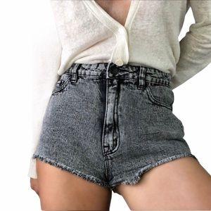 UO BDG Gray High Rise Dree Cheeky Denim Shorts NWT